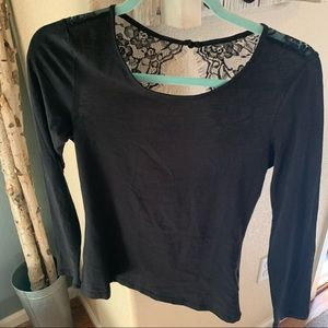 H and M black lace top